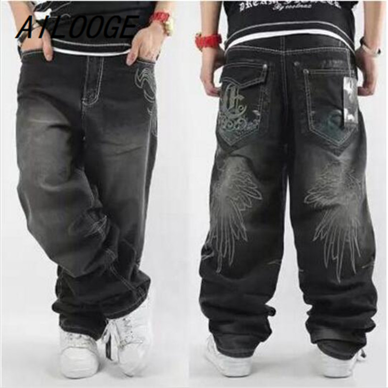 AILOOGE 2017 Mens Baggy Jeans Men Wide Leg Denim Pants Hip Hop New Fashion Embroidery Skateboarder Jeans Free Shipping HZ451  hip hop jeans for men 2017 new fashion light blue baggy jeans skateboarder denim pants free shipping