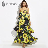 Vintacy 2017 Designer Women Layered Maxi Dress Chiffon Black Summer Backless Dresses Vacation Beach Spring Women