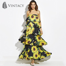 Vintacy 2017 Designer Women Layered Maxi Dress Chiffon Black Summer Backless Dresses Vacation Beach Spring Women Party Dress(China)
