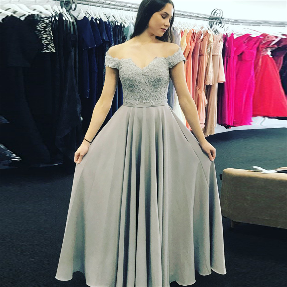 Simple A Line Long   Evening     Dress   Boat Neck Off The Shoulder Lace Elastic Satin Prom Party Gown 2019 Cheap Women Occasion   Dresses