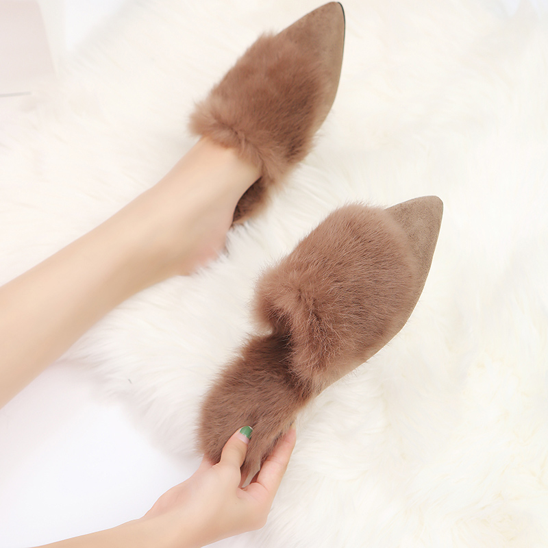 New Fashion Faux Fur Women Slippers Winter Slides Ladies Cute Warm Plush Mules Slip On Casual Flat Shoes Woman Furry Flip Flops
