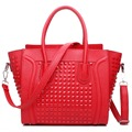 L1158 - MISS LULU WOMEN CELEBRITY PU LEATHERE STUDDED SMILE HANDBAG RED