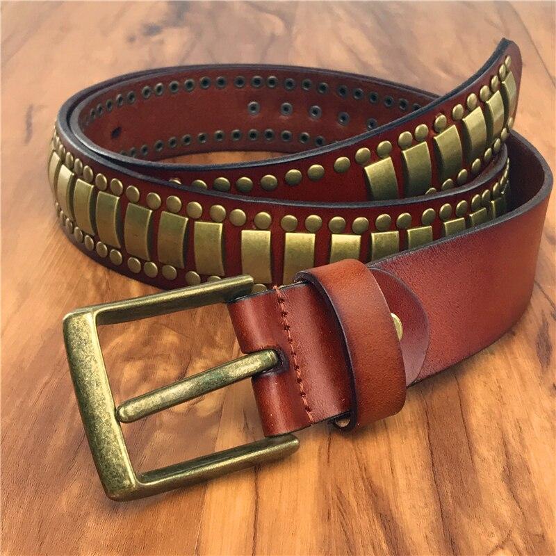 e99ffcee198 Gold Rivet Metal Leather Belt Jeans Studded Men s Belt Ceinture Homme Punk  Western Men Belt Riem Male Strap Rock MBT0586-in Men s Belts from Apparel  ...