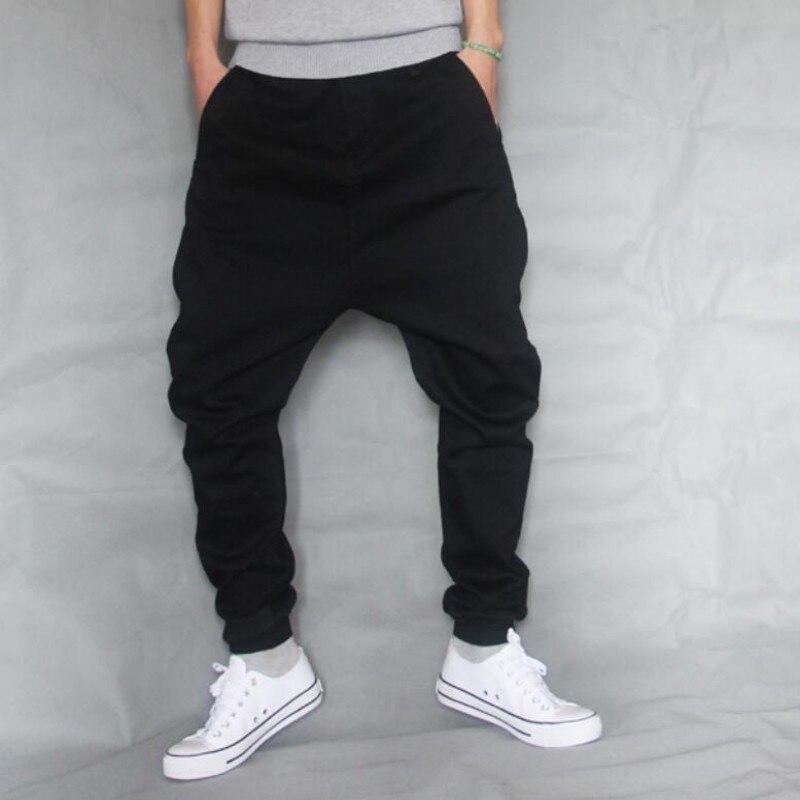 Hip Hop Baggy Denim Squirrel Pants Male Low Crotch Skateboard Jeans Mens Loose Harem Jogger Pants Black Stretch Trousers A60508