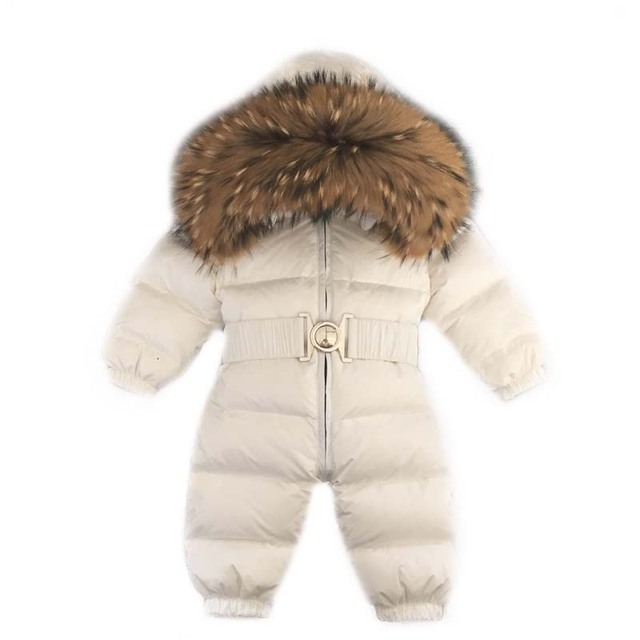 6c6ff3c2a82dfe Kombinezony dziecięce zimowe kombinezony dla chłopcy dziewczęta Baby  pajacyki kaczki dół kombinezon kołnierz z prawdziwego futra