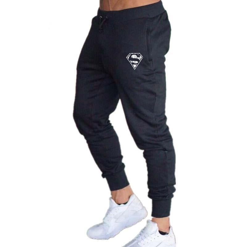 Sweatpants Black Doodle Print-Trousers Fitness-Workout Big-Size Men's Fashion Casual