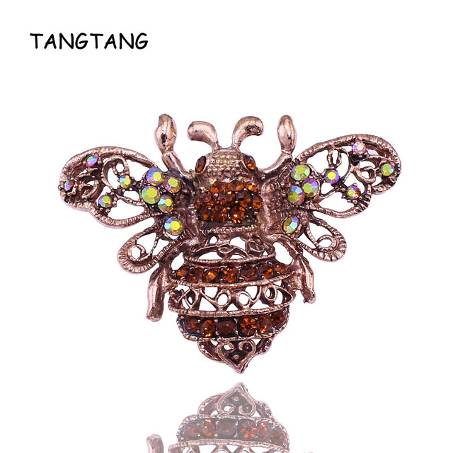 Vintage Red Bronze Plated Bee Brooch Rhinestone Crystal Pins With Yellow AB Color Stones Hot Sale Jewelry 2018 Item NO.: BH7036
