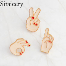 Sitaicery Ok! Victory Hand Finger Sign Enamel Pins Okay Signal Gesture Badges Brooches Hat Pin Button Gift For Women Men Jewelry