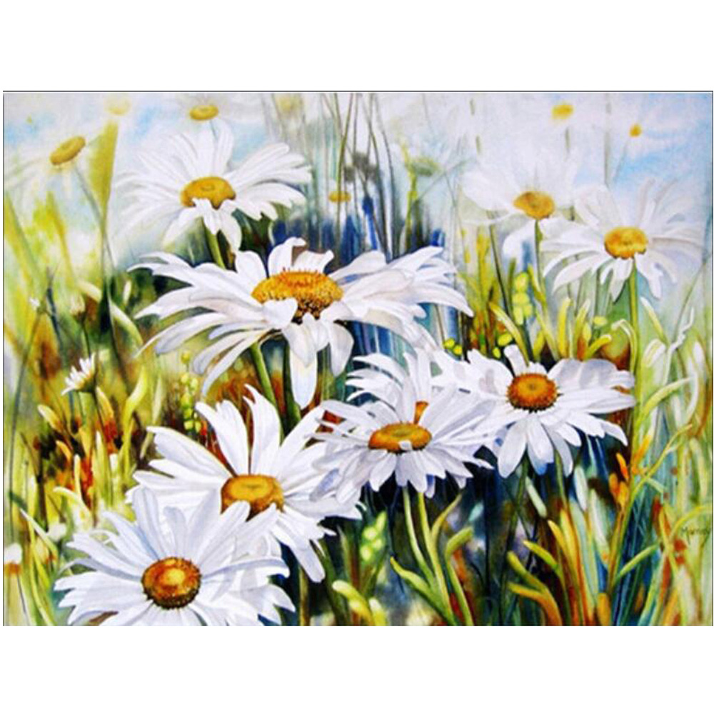 Білі ромашки алмазна живопис ручна - Мистецтво, ремесла та шиття