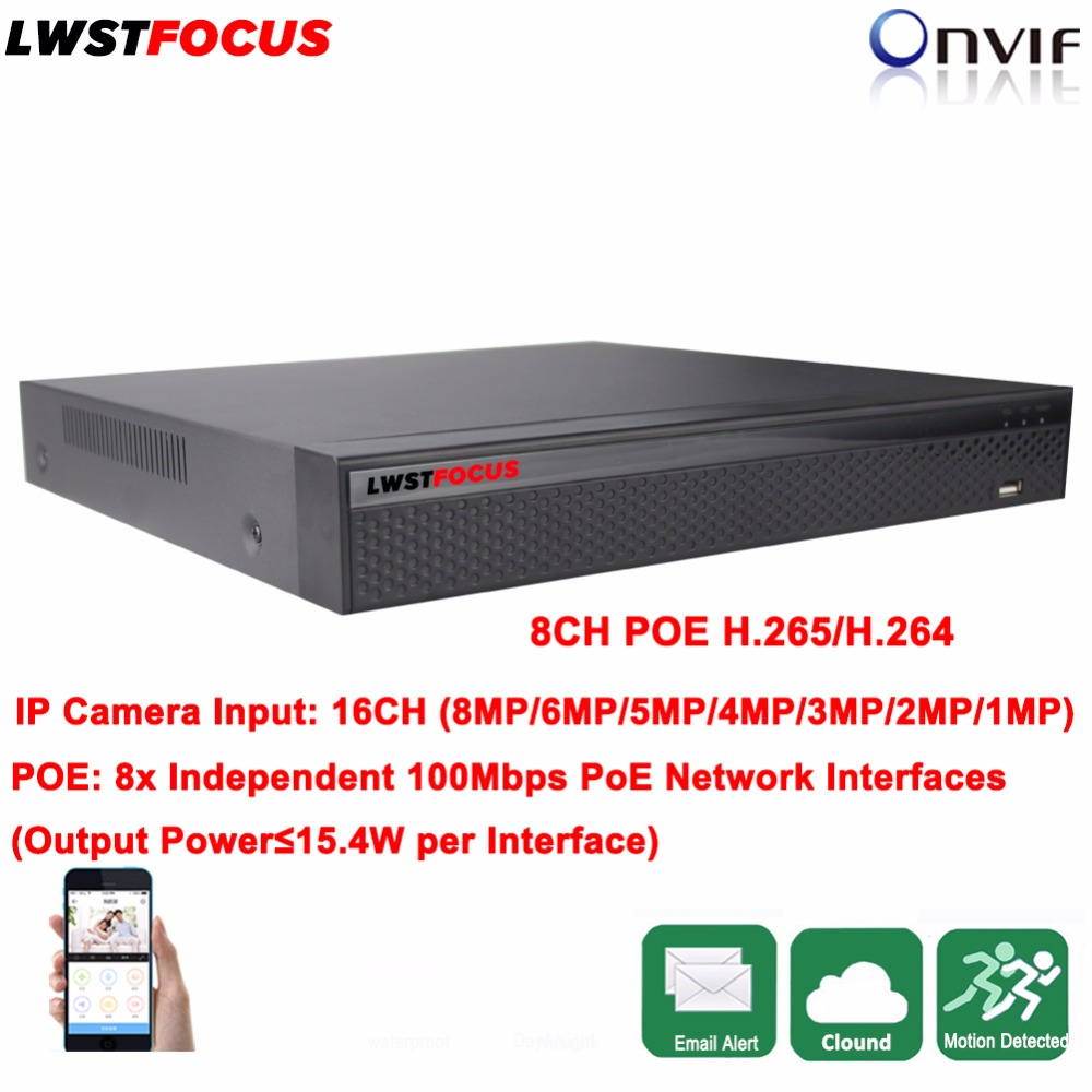8CH POE NVR H.265/H.264 Security CCTV DVR NVR Video Recorder 1080P ONVIF 1 SATA Hard Disk Interface (Up to 6TB) All Real Time цена