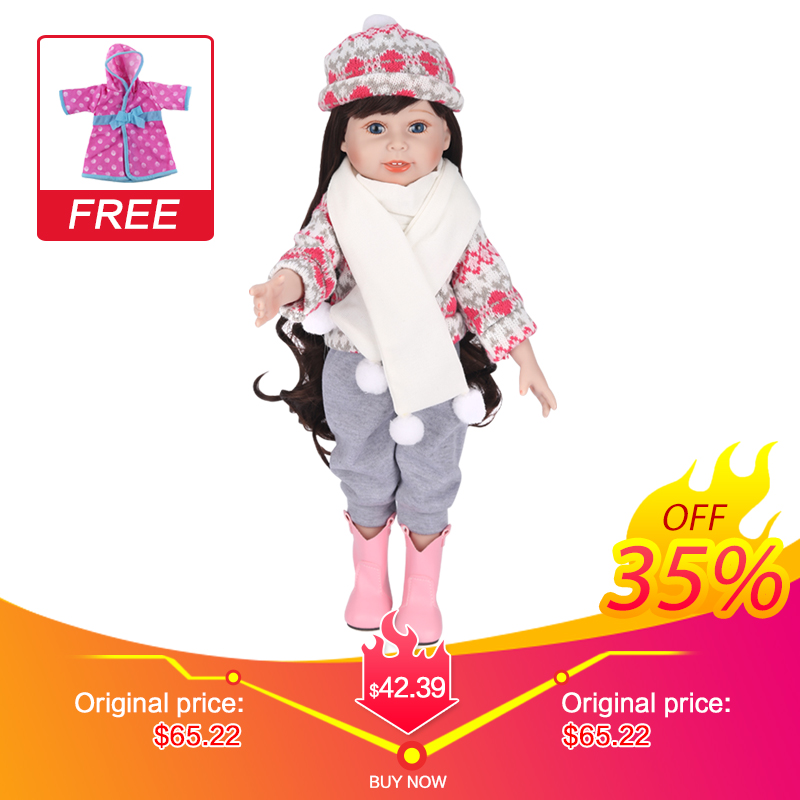 UCanaan 18inch 45CM Girl Doll Handmade Soft Full Vinyl Silicone Dolls Toy for Little girl ( clothes + shoes + Headwear )-TinaUCanaan 18inch 45CM Girl Doll Handmade Soft Full Vinyl Silicone Dolls Toy for Little girl ( clothes + shoes + Headwear )-Tina