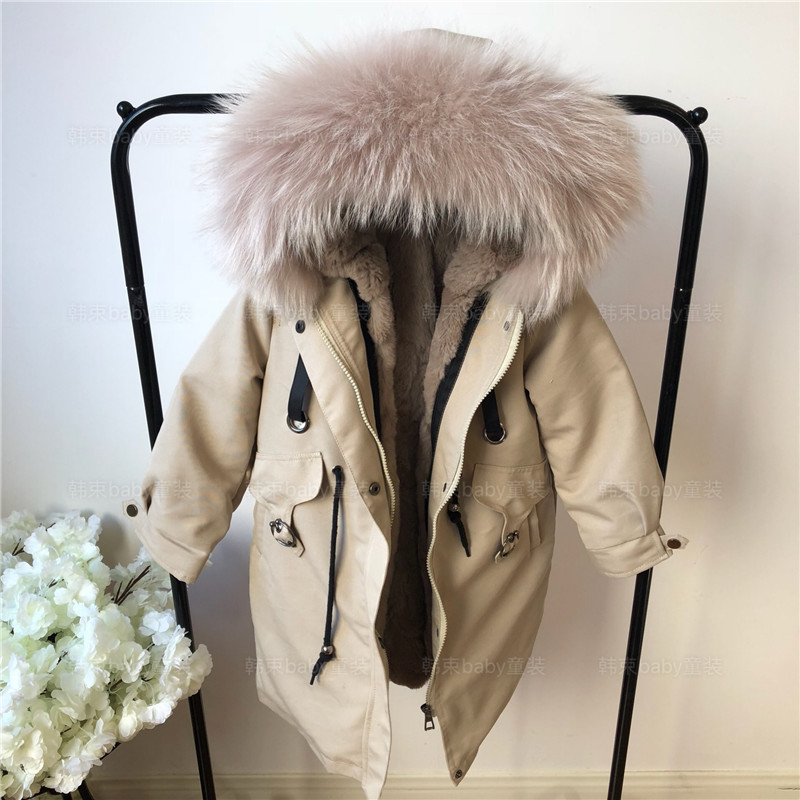 MaoMaoKong Baby Girls Real Fur Windproof Jackets Warm Rabbit Fur Cotton Padded Parkas Winter Boy's Real Fur Hooded Collar Coats