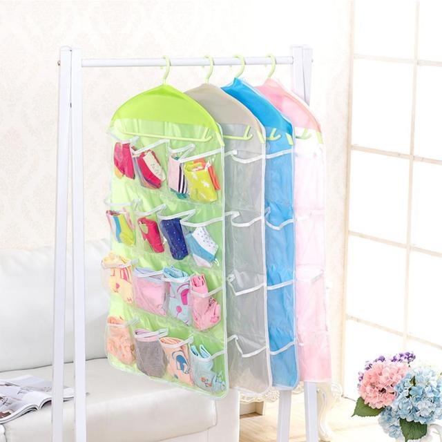 Clear 16 Pockets Socks Shoe Toy Underwear Slippers Jewelry Sorting Storage Bag Door Wall Hanging Closet