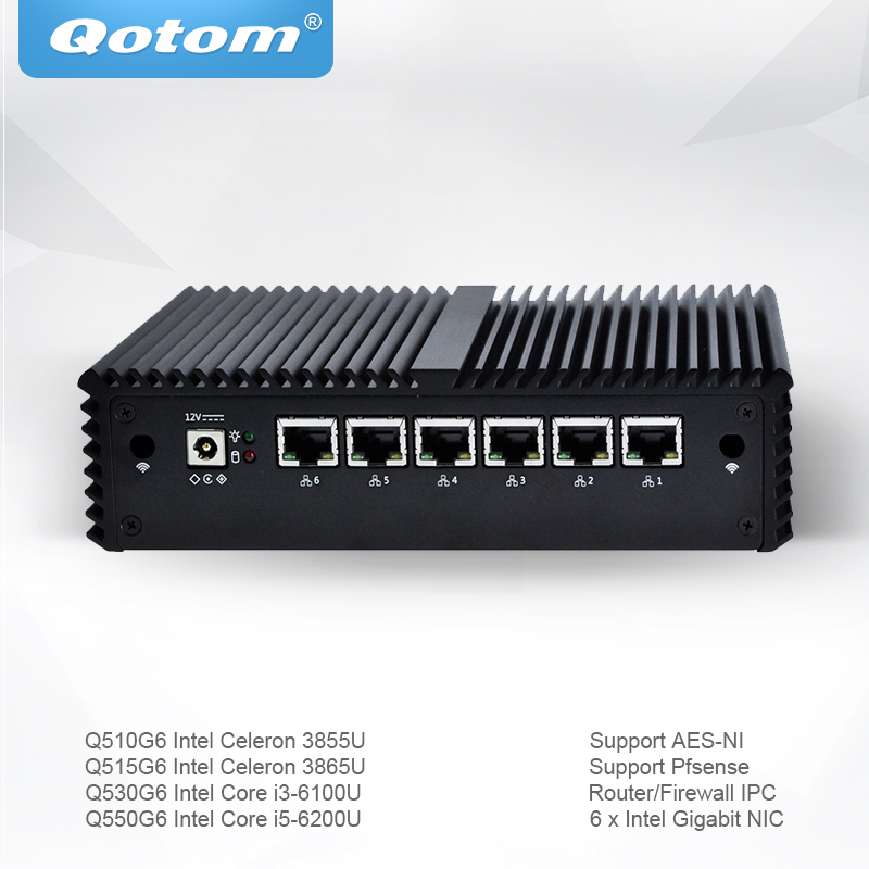 Qotom Mini PC with Celeron Core i3 i5 Pfsense AES-NI 6 Gigabit NIC Router Firewall Support Linux Ubuntu Fanless PC Q500G6 qotom pfsense mini pc i5 i3 micro computer linux ubuntu fanless mini pc server dual core firewall ase ni industrial computer