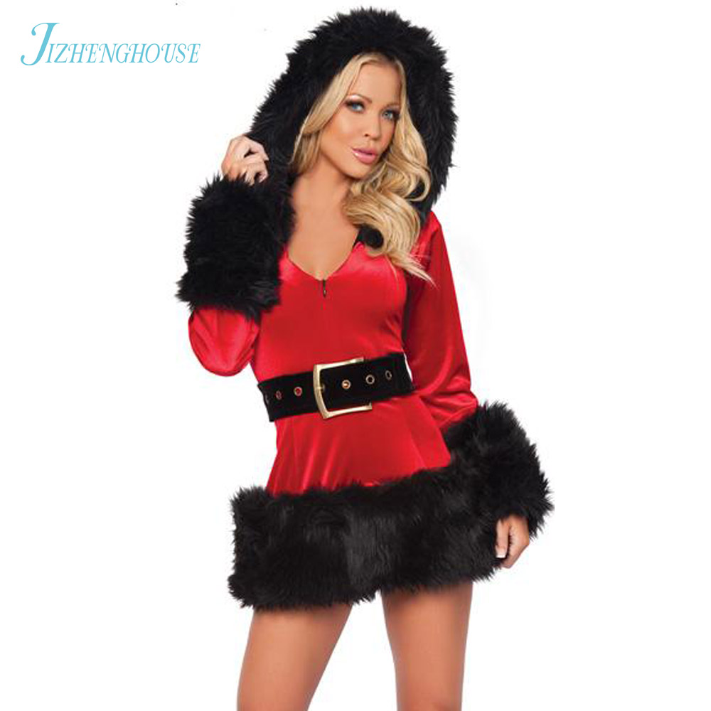 JIZHENGHOUSE Halloween Uniform Role Playing for Adult Santa Clause Dress Costume