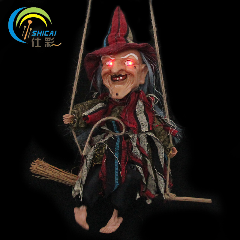 free shipping hanging welcome sign for door witch in swing halloween decoration with led luminous for bar house party fabric