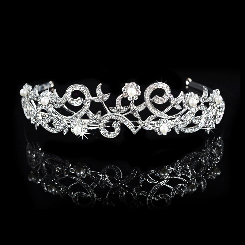 AAA cz Diamond Embroidery Designer Wedding Hair Diadem White 585 Gold Plated Women Jewelry Imitated Pearl