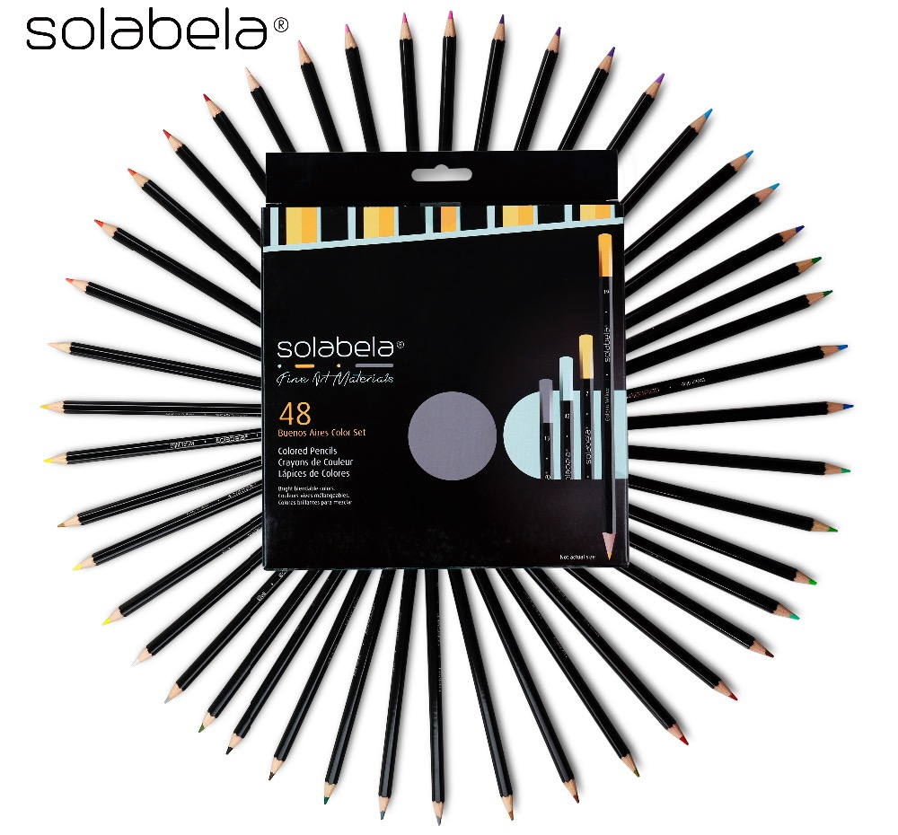 Solabela 48 PCS Colored Pencils for Drawing Fine Art Drawing Oil Base Non-toxic Pencils Set For Artist Supplies brand new fashion design fine art drawing oil base non toxic professional drawing pencils set 72 color for artist sketch