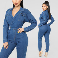 Women Jumpsuits Dark V neck Denim Rompers Ladies Sexy Washed Jumpsuits Pockets New Female Long Sleeve Rompers Daily Wear WKL942
