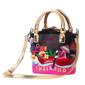Women Bags Canvas or Leather Patchwork Embroidery Handbags Shoulder Bags Messenger Bag Totes Braccialini Style Thai Scenery