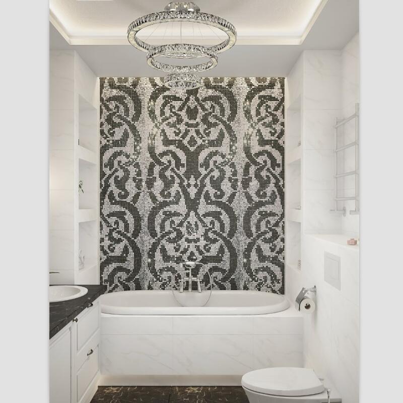 Leuchtenden Silberfolie Mit Schwarz Muster Puzzle Kunst Malerei Glas Mosaik  Fliesen Für Badezimmer Wohnzimmer Garderobe