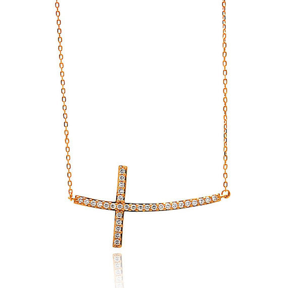 Sideways Curved Cross Necklace: Sideways Curved CZ Crystal Cross Necklace For Women
