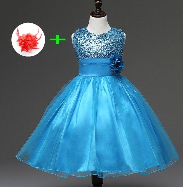7302c593cc34e Squined Petites Filles Princesse Robes pour enfants de mariage vêtements 3  à 10 ans D u0027 ...