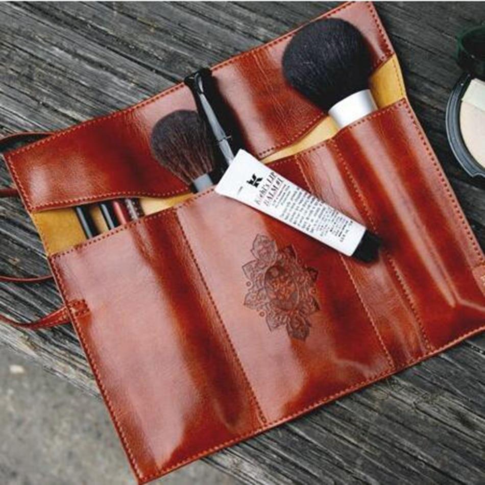 Men Women Vintage Cosmetic Bag Twilight  Pens Makeup Brushes Bag PU Leather Travel Make Up Bag Toiletry Organizer Holder