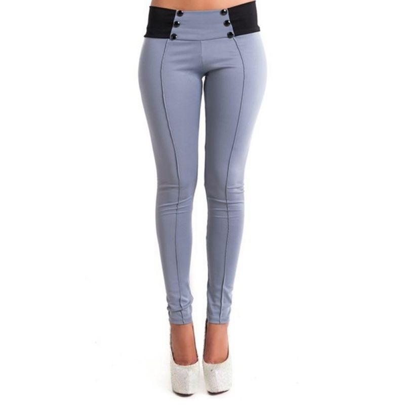 Women Fashion Casual Slim Pencil Pants Candy Colors Skinny Stretch Leggings Trousers