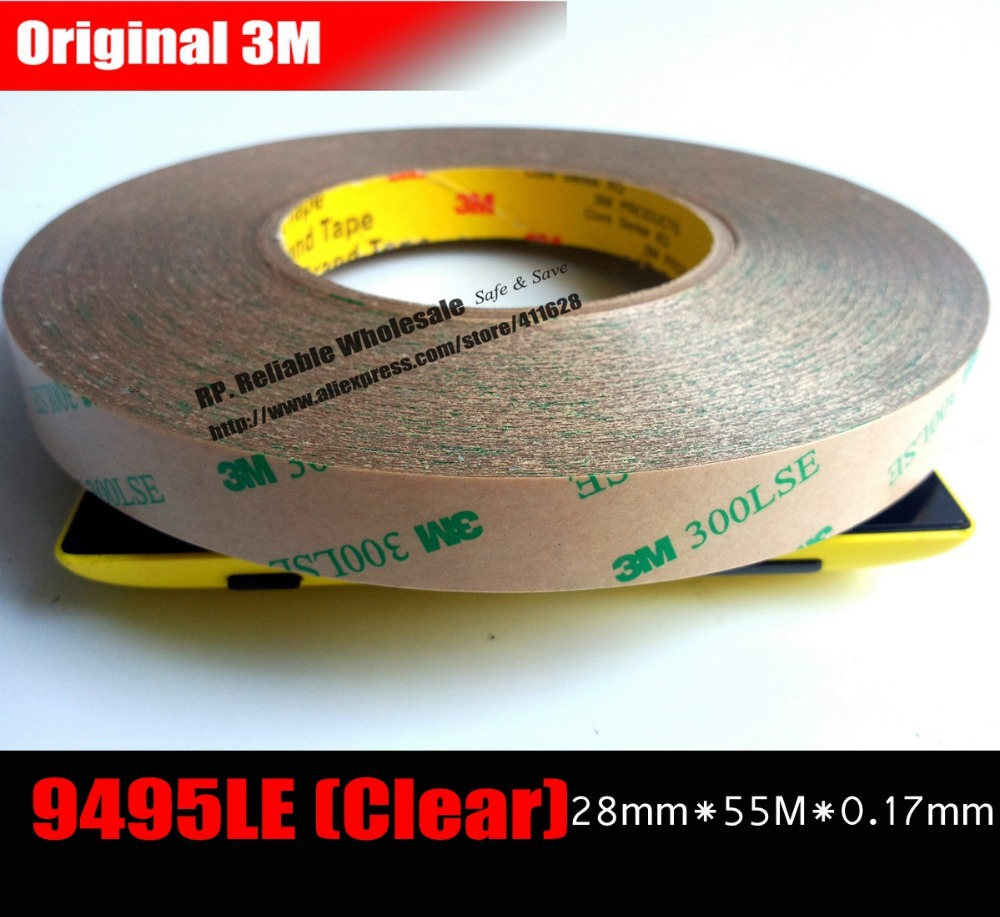(28mm*55M*0.17mm) Extreme Hi-Bond Transparent 3M 300LSE PET Acrylic Glue Tape for Laptop GPS Control Panel, Windows Display Bond