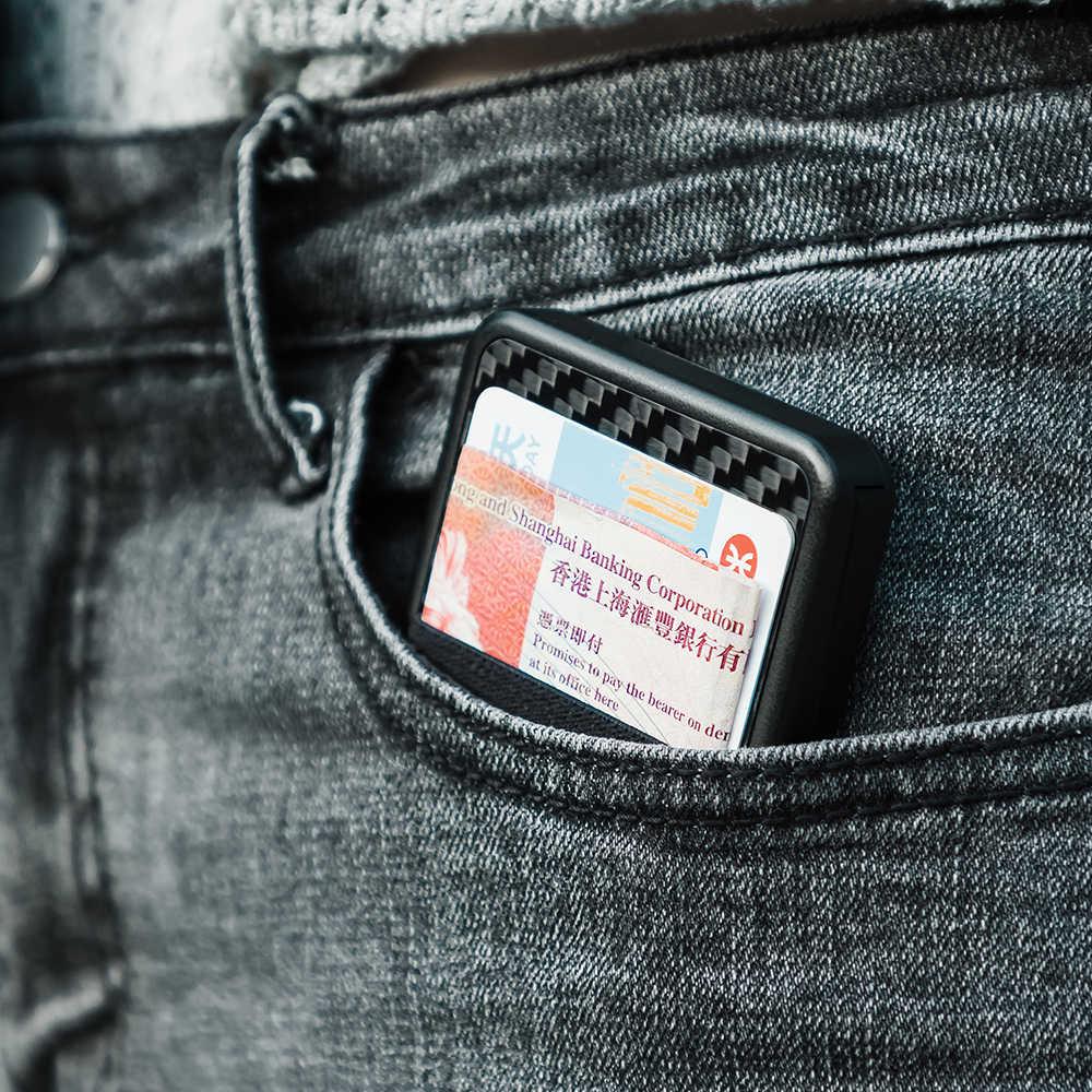 NewBring держатель для карт RFID Блокировка раздвижные бумажник пластик карты деньги Чехол кошелек углерода волокно для муж