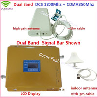 NEW LCD Display ! DCS 1800MHz CDMA 850Mhz Dual Band Mobile Phone Signal Booster Cell Phone CDMA DCS Signal Repeater with Antenna