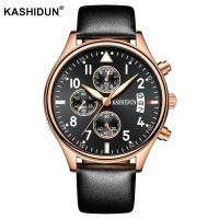 KASHIDUN Mens Watches Top Brand Luxury Sport Quartz Watch 3ATM Waterproof Men S Leather Wrist Watch