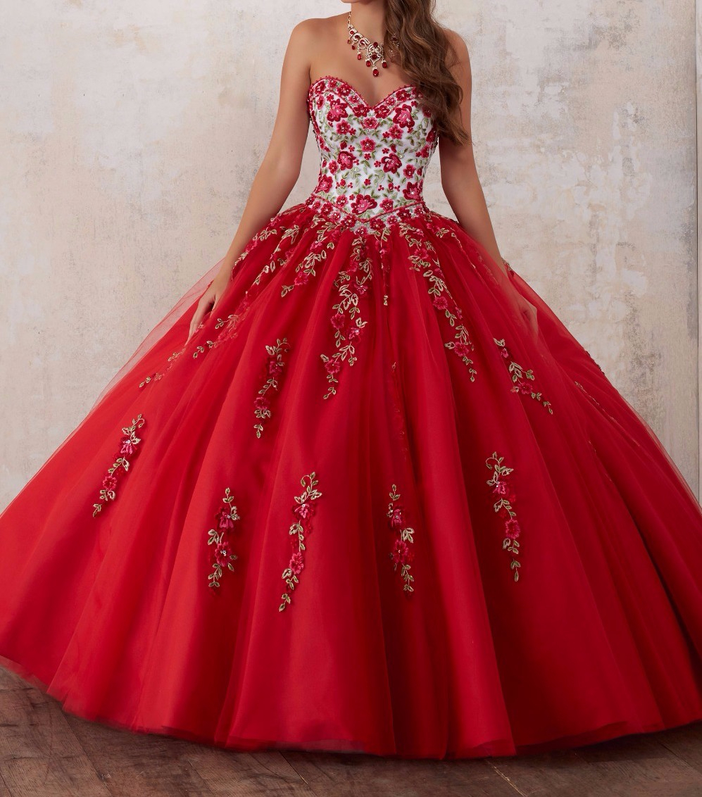 Quinceanera-Dresses Crystal Sweetheart-Neck Embroidery Red Vestidos-De-15-Anos 15-Year-Old