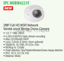DAHUA IP Camera Security Camera CCTV 2MP WDR Network Vandalproof IR Wedge Dome Camera IP67 without Logo IPC-HDBW4221F