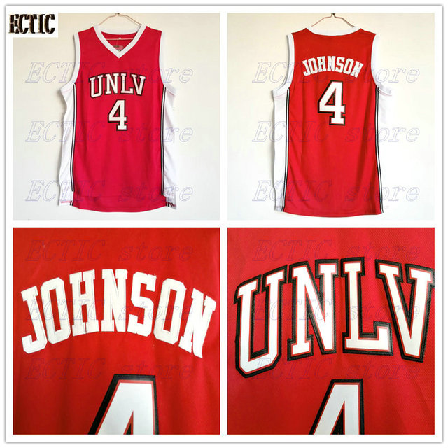 online store 056d8 82a1a 2017 ECTIC 4# Larry Johnson UNLV 1989 Jersey Running Rebels Throwback Shirt  Stitched Red Mens Basketball Jersey-in Basketball Jerseys from Sports & ...