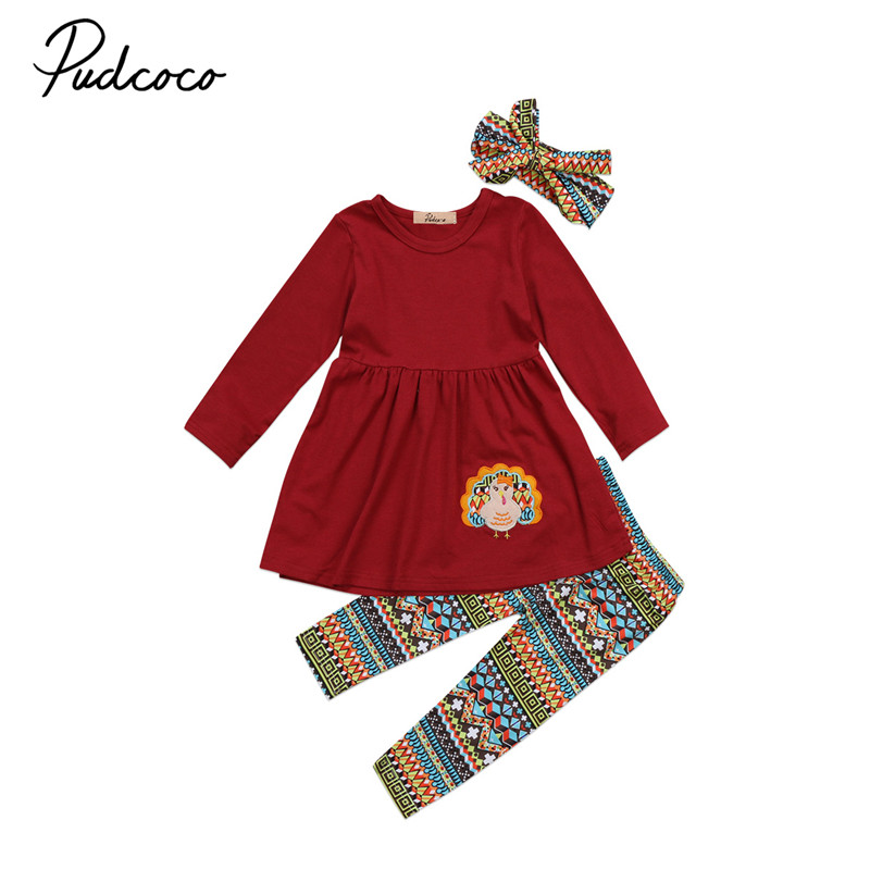 2017 Thanksgiving Day Turkey Kids Baby Girls Clothes Long Sleeve Tops Dress+Pants+Headdr ...
