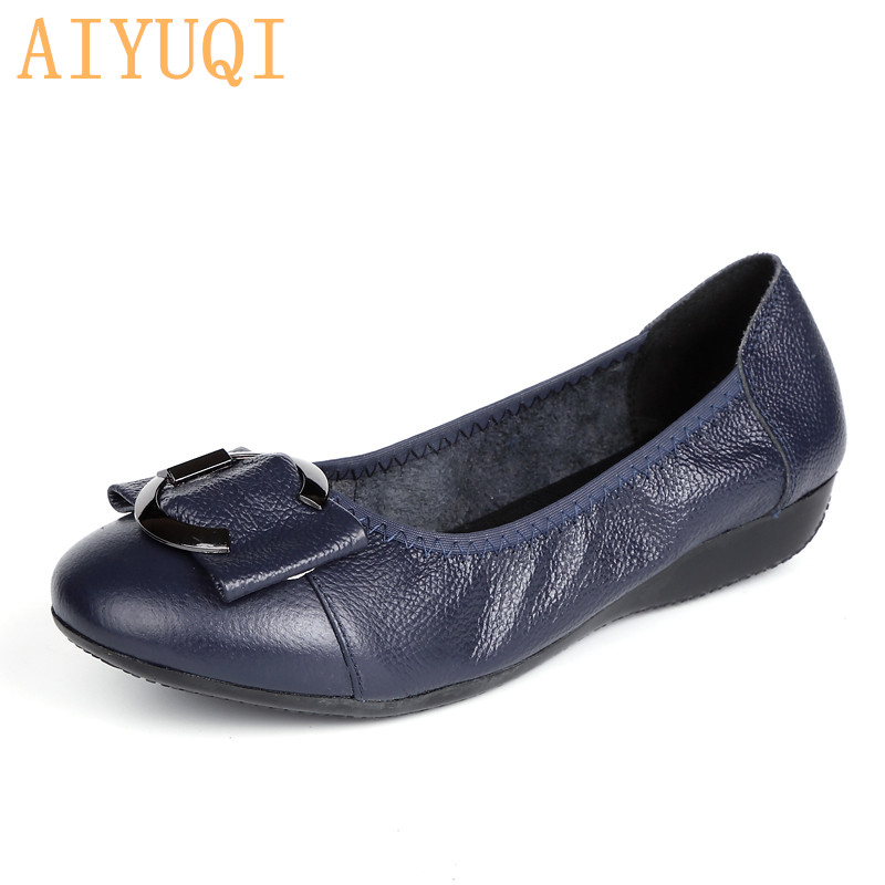 AIYUQI Shoes women flat 2019 spring new shoes genuine leather loafers casual and comfortable mother