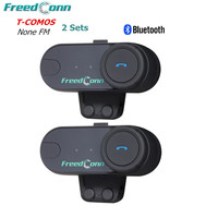 New FDC 2PCS 100M Motorcycle Helmet Intercom Headset Wireless Bluetooth Waterproof Moto BT Interphone Handsfree Stereo