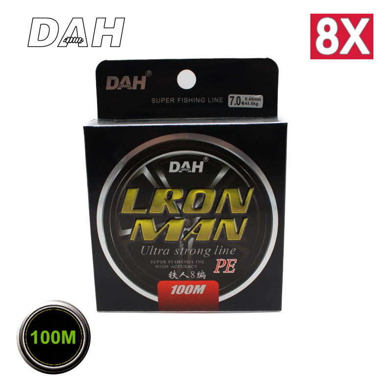 Wholesale 100m 8x Brand DAH Japan Quality Multifilament 100% PE Braided Fishing Line 8 Strands Strong Strenght Free Shipping