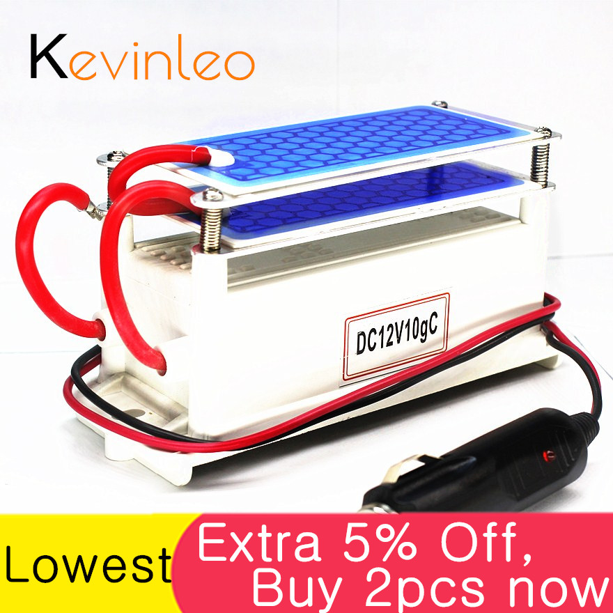 Kevinleo 10g Ozone Generator 12V Car Long-Last Air Clean Portable Ceramic Plate Air Purifier Air Sterilizer Car Ozone Ionizer