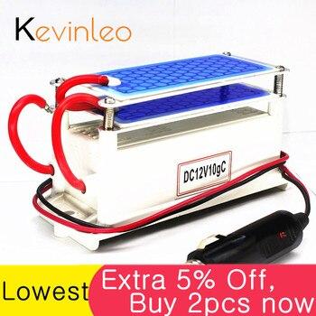 Kevinleo 10g generador de ozono 12V coche de larga duración limpieza de aire placa de cerámica portátil purificador de aire esterilizador de aire coche de ozono ionizador