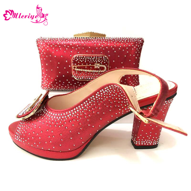 купить red Wedding PU Leather Fashion New African shoes and bag set for party Italian shoes with matching bag new design ladies bag по цене 5317.4 рублей