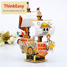 Creative one pieces luffy PVC soft model hand make patrolling ship education toy lovely birthday gift