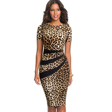 Nice-forever Vintage Optical Illusion Leopard Color Block Work vestidos Business Party Bodycon Office Sheath Women Dress B498