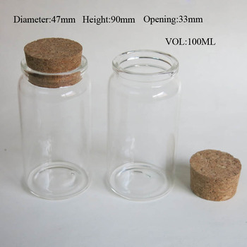 50 x 100ml Empty Glass Bottle with Wooden Cork Wishing Cork Stoppered Bottle Glass Jar Uused for Storage Craft Glass Container