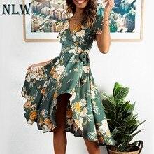 11fd0e2569 NLW femmes élégant vert imprimé Floral robe Vestido Body Wrap plage bohème  volants Feminino robe Sexy robes de soirée robes