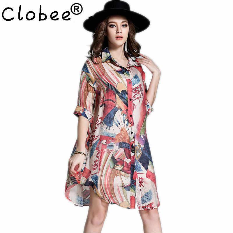 Ropa Женская мода Блузки печать кимоно кардиган Длинная блузка шелковое белье свободные рубашки Карьера Лето Топы одежда 4XL