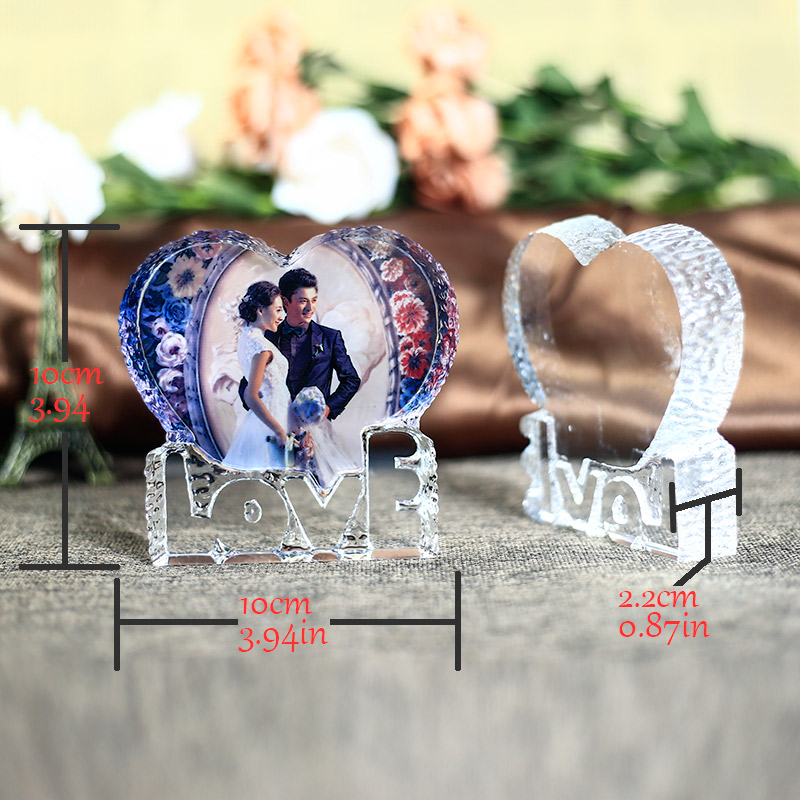 Customized Love Shaped Crystal Wedding Photo Frame Baby Decoration Friends Family Lover Gifts