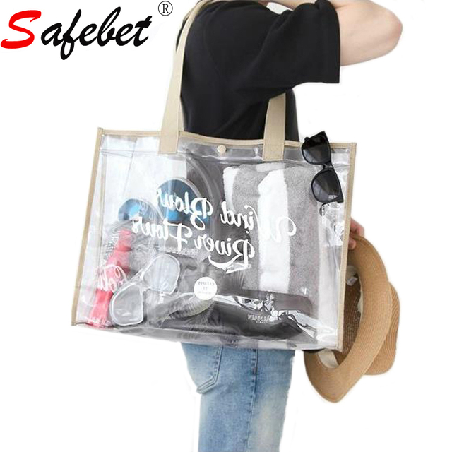 Safebet Fashion Transpa Pvc Travel Beach Bag Women Ping Storage Clear Shoulder Handbag Organizer Summer